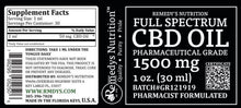 Load image into Gallery viewer, CBD 1500 mg FULL SPECTRUM Remedy's Nutrition