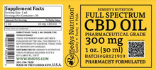 Load image into Gallery viewer, CBD 300 mg FULL SPECTRUM Supplement Remedy's Nutrition
