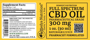 CBD 300 mg FULL SPECTRUM Supplement Remedy's Nutrition