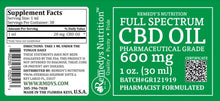 Load image into Gallery viewer, CBD 600 mg FULL SPECTRUM Remedy's Nutrition