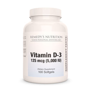 Vitamin D-3 (3 Strengths to choose from) Supplement Remedy's Nutrition 125 mcg (5000 IU)