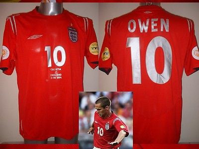 73686bf1c England OWEN Euro 2004 Shirt Jersey Football Soccer Umbro Adult Large –  classic-kits