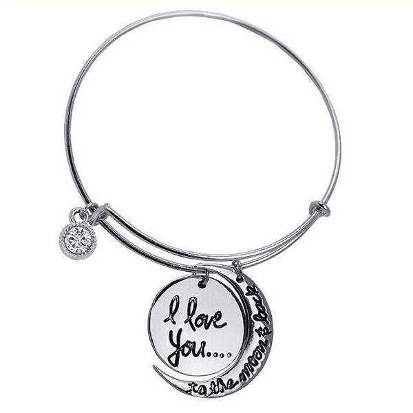 I Love You To The Moon And Back Bangle - One Cool Gift  - 1