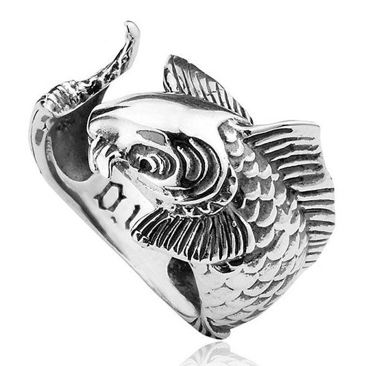 Carp Fishing 925 Sterling Silver Adjustable Ring - One Cool Gift  - 1