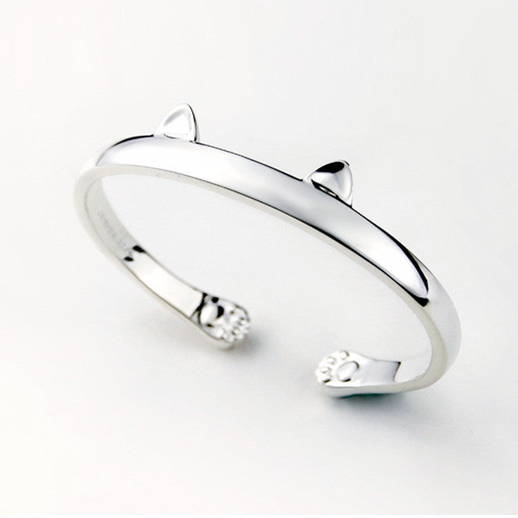 Crazy Cat Ears Silver Bangle - One Cool Gift  - 1