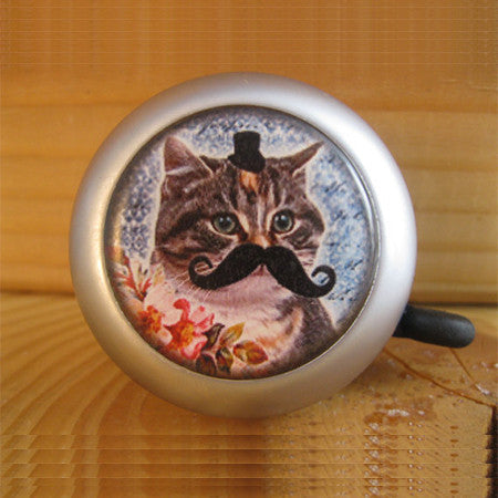 Crazy Cat with Mustache Bicycle Bell Bike Accessories - One Cool Gift