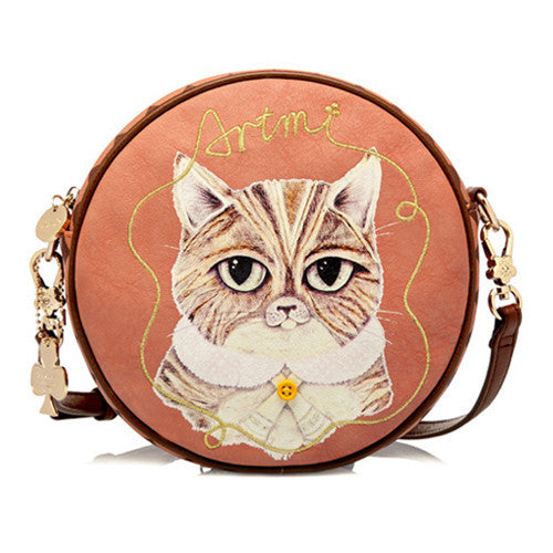 Super Adorable Crazy Cat Round Purse Handbag - One Cool Gift  - 1