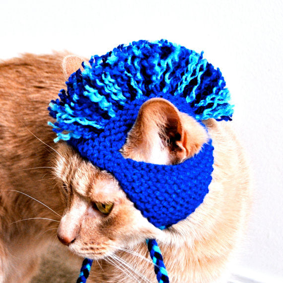 Crazy Mohawk Cat Hat - Blues - Hand Knit Cat Costume - One Cool Gift  - 1