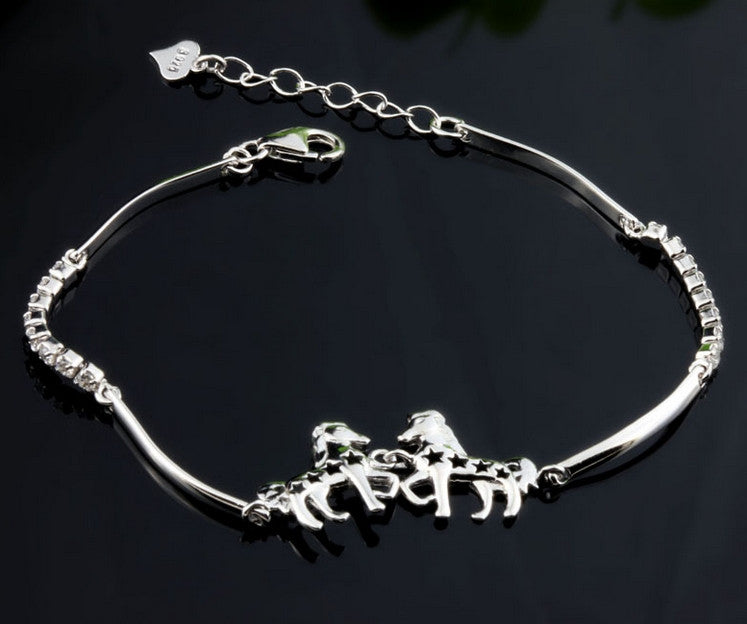 I Love Horses 925 Sterling Silver Lucky Charm Bracelet - One Cool Gift  - 1