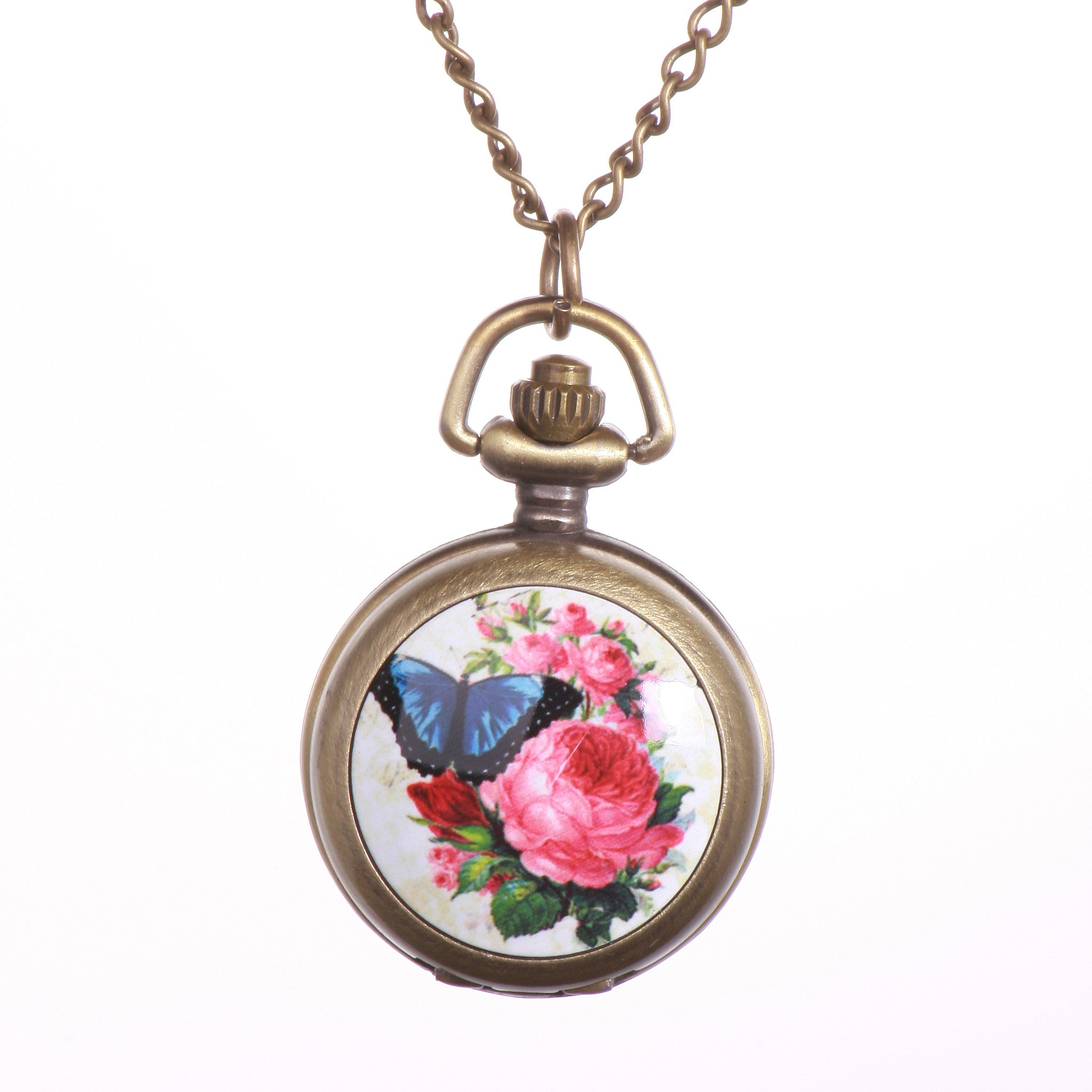 Butterfly Edition Beautiful Vintage Pocket Watch Necklace - One Cool Gift  - 1