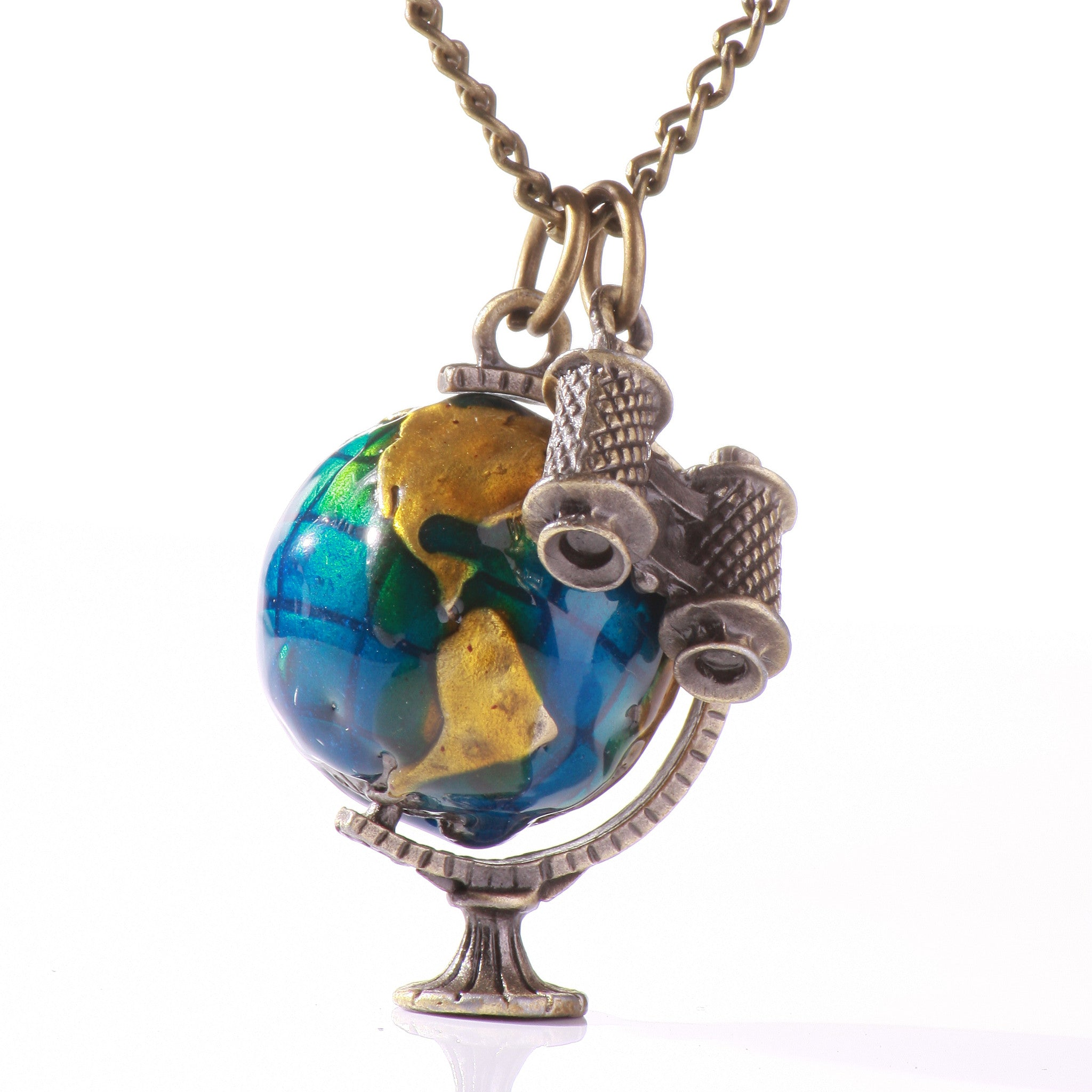 Travel Around the World Spinnable World Map Necklace - One Cool Gift  - 1