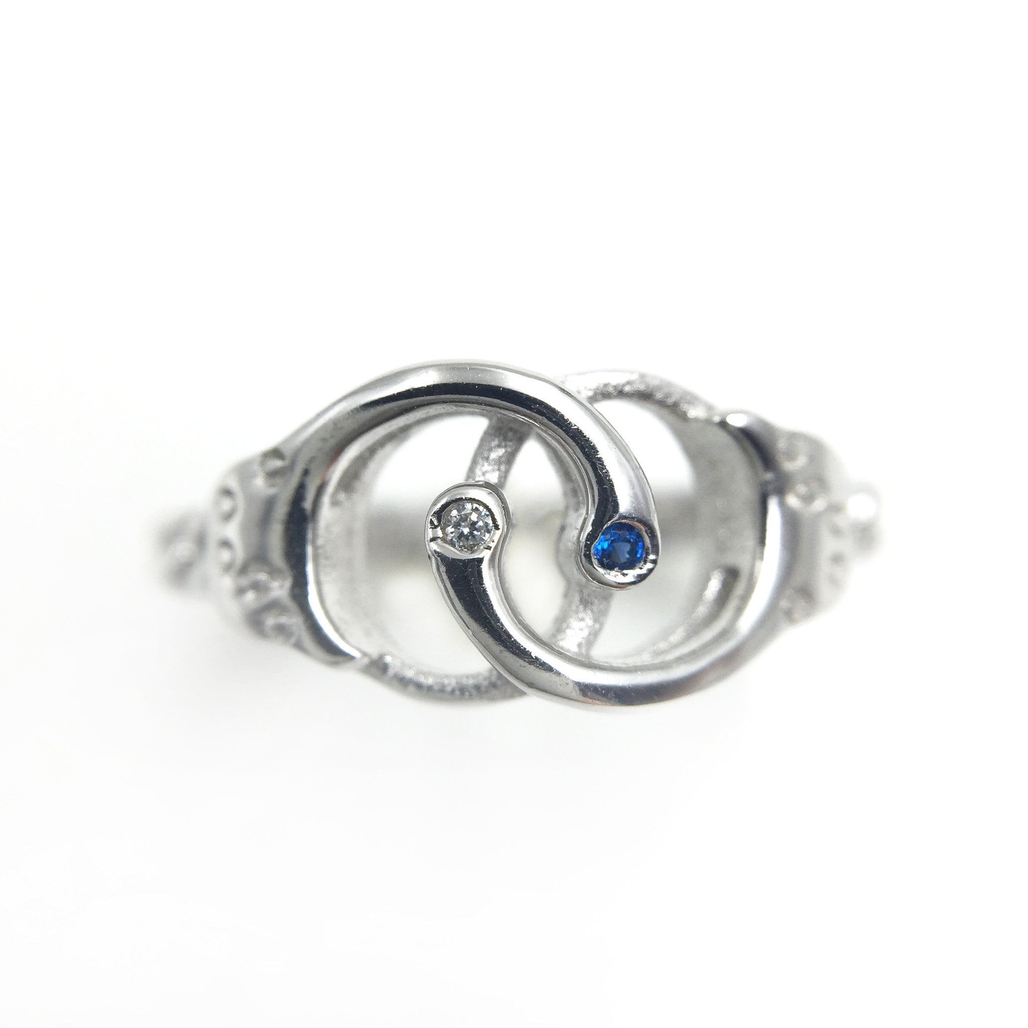 The Rhinestone Handcuff 925 Sterling Silver Ring - One Cool Gift  - 1
