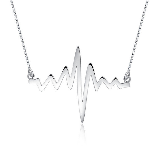 Limited Edition 925 Sterling Silver Crazy Heartbeat Necklace - One Cool Gift  - 1