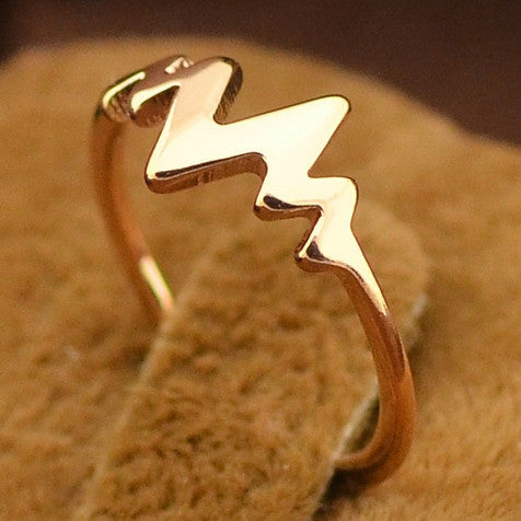 14K Rose Gold Plate Lifeline Pulse Heartbeat Pinky Ring - One Cool Gift  - 1