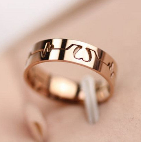 "14K Rose Gold Plate Unisex ""Read My Heartbeat"" Ring - One Cool Gift  - 1"