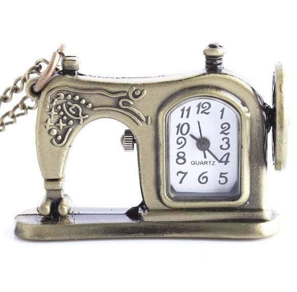 Vintage Sewing Machine Antique Bronze Pocket Watch Necklace - One Cool Gift  - 1