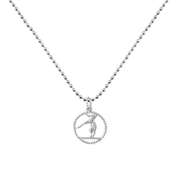 Gymnastics Rocks Silver Necklace - One Cool Gift  - 1