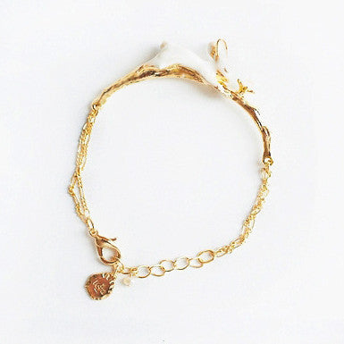 Super Cute Bunny Golden Bracelet with a Touch of Pearl - One Cool Gift  - 1