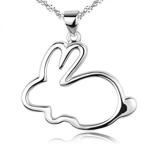 The Bunny Lover 925 Sterling Silver Necklace - One Cool Gift  - 1