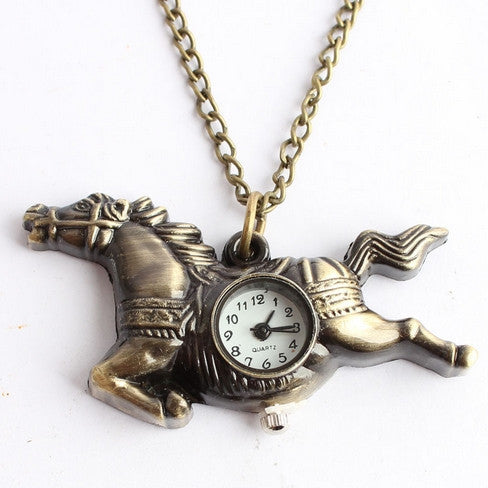 Time To Ride The Amazing Horse Pocket Watch Necklace - One Cool Gift  - 1