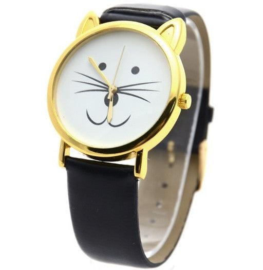 Crazy Cat Face Vintage Style Watch Black - One Cool Gift  - 1