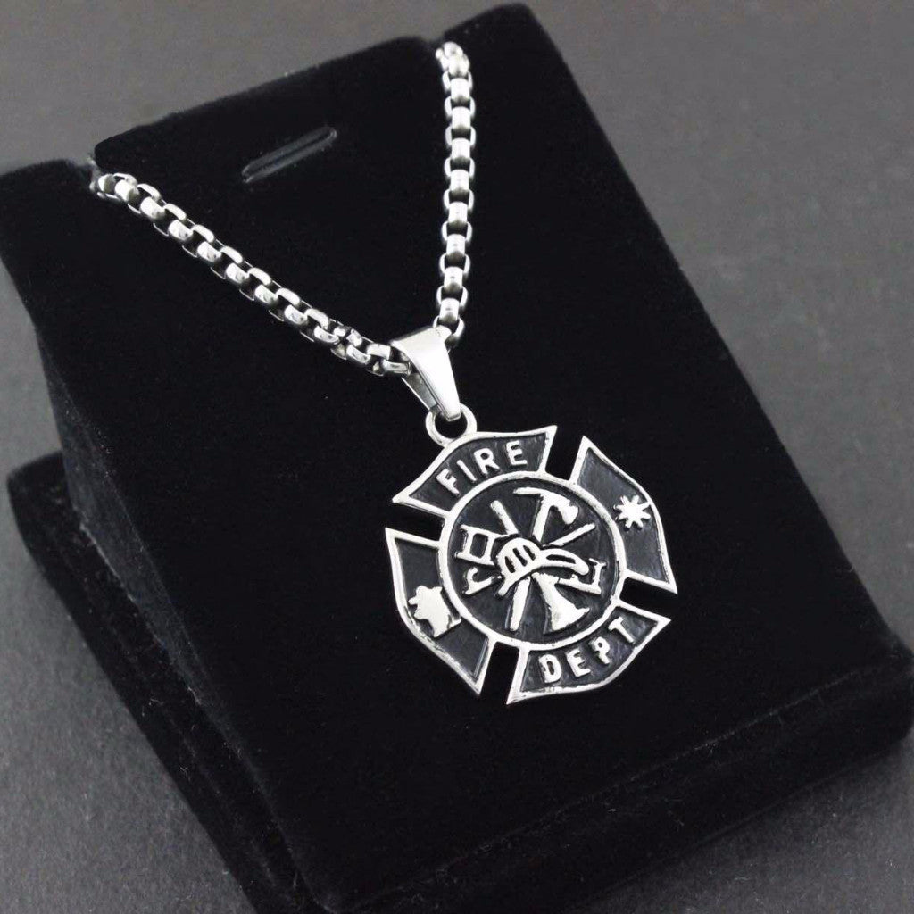 The Firefighter Emblem Titanium Steel Necklace