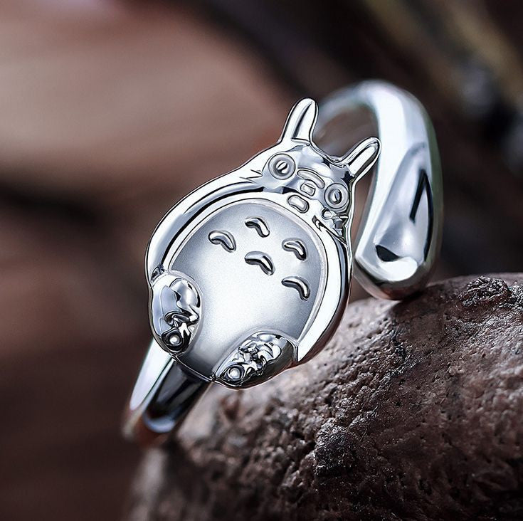 Adjustable Totoro 925 Sterling Silver Ring - One Cool Gift  - 1