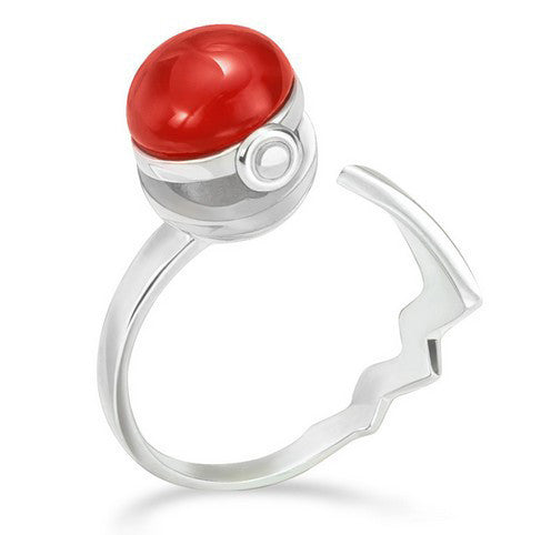 Pokemon Original Poke Ball 925 Sterling Silver Adjustable Ring - One Cool Gift  - 1