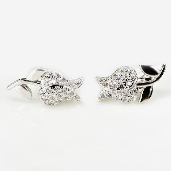 Roses are Silver 925 Sterling Silver Rhinestones Earrings - One Cool Gift  - 1