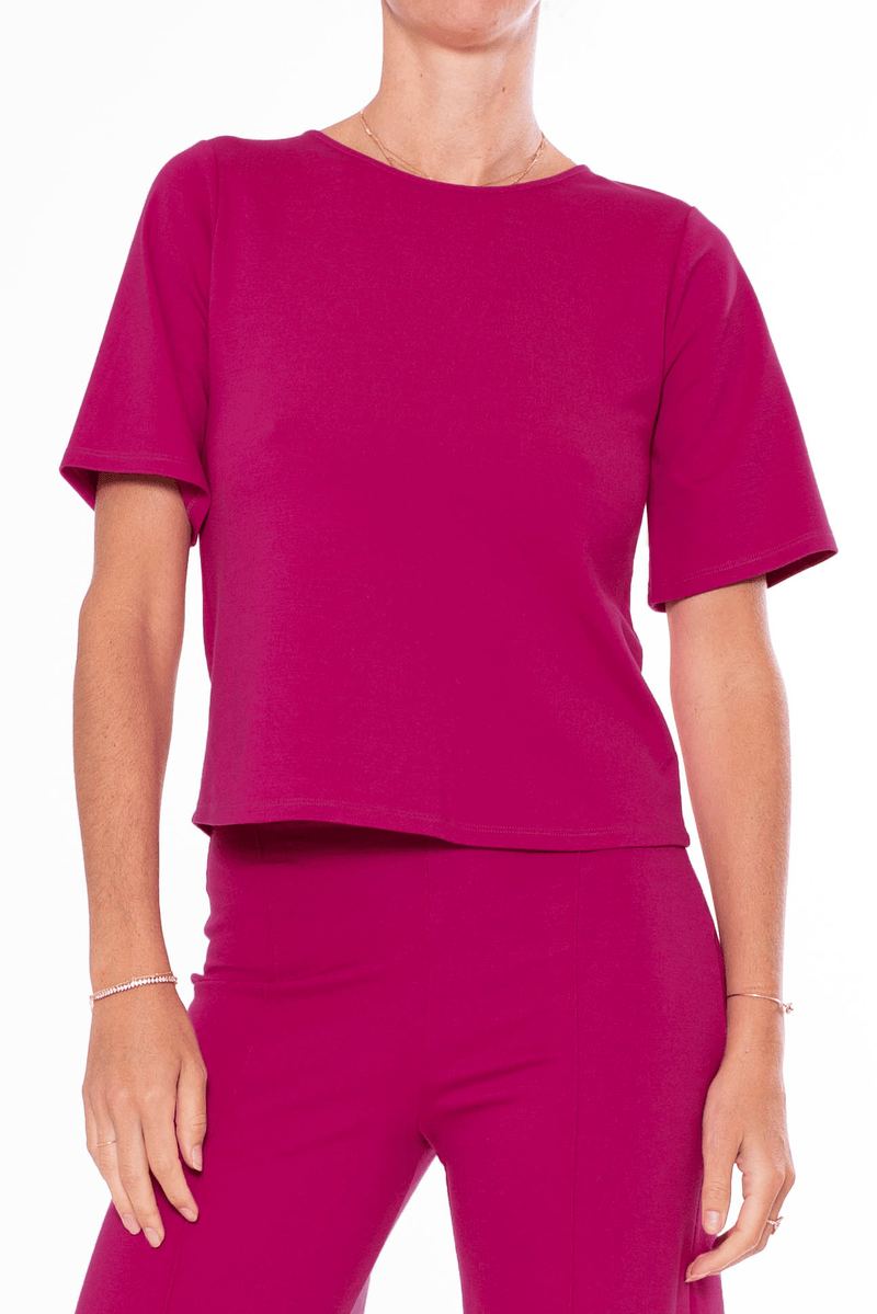 Fuchsia Ponte Knit Short Sleeve Top Extended