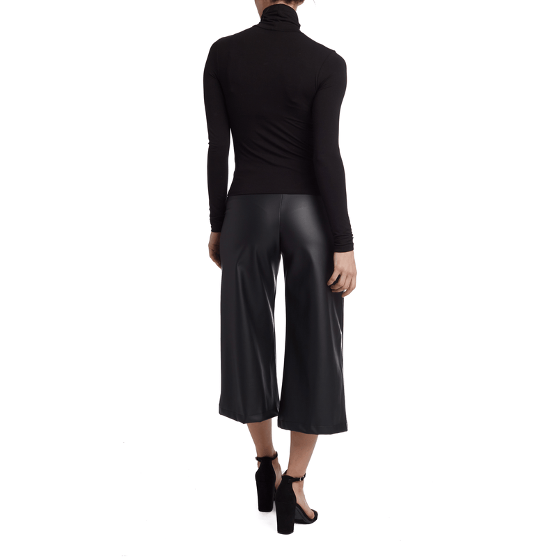 Vegan Leather Wide Leg pant Culottes - wide leg
