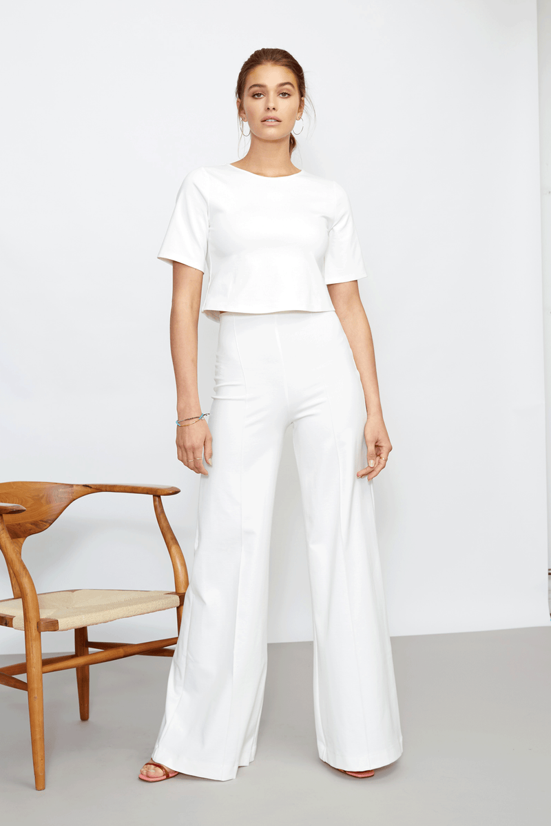 Off-White Ponte Knit Wide Leg Pant