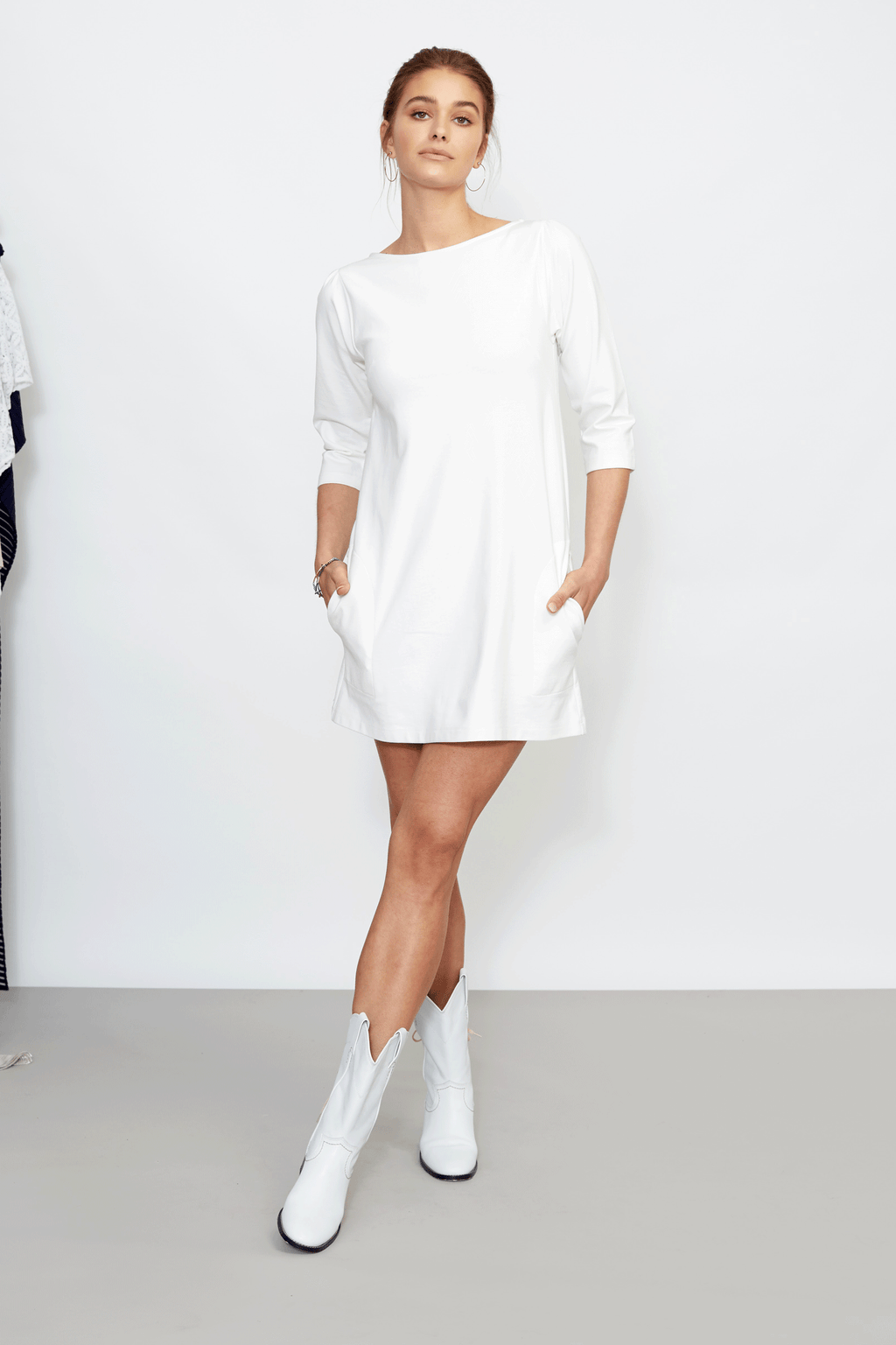 Off-White Ponte Knit A-Line Dress