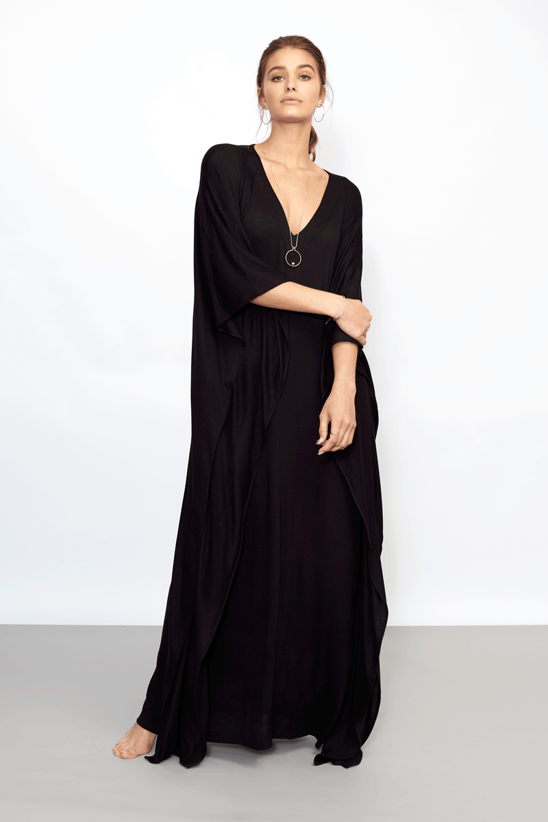 Black Sweater Knit Caftan Long