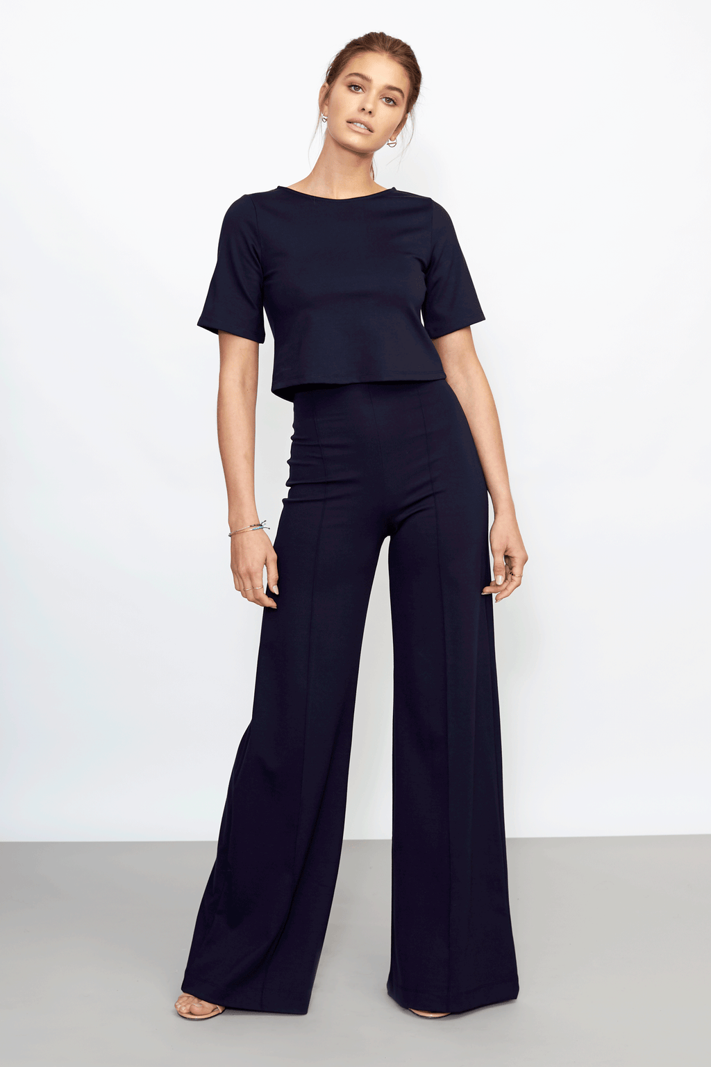 Navy Ponte Knit Wide Leg Pant
