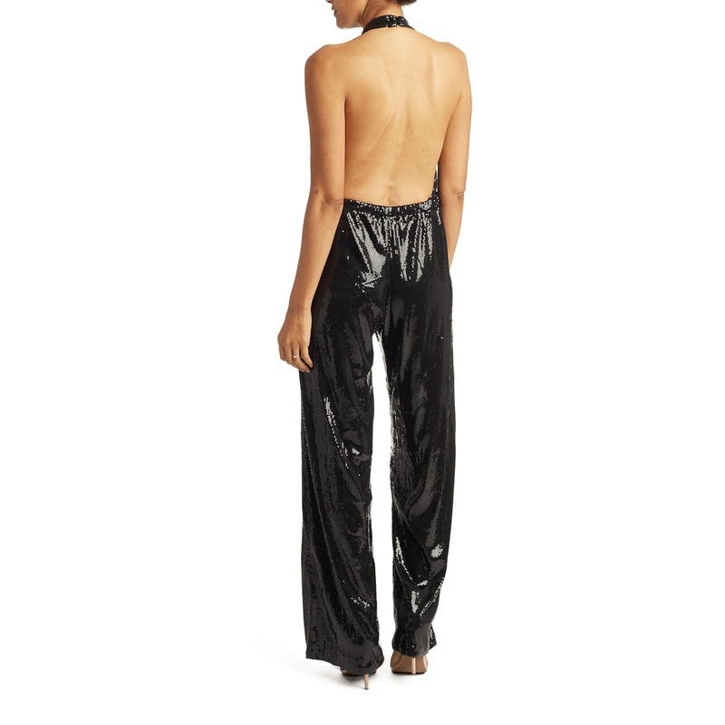 Black Sequin Backless Halter Jumpsuit