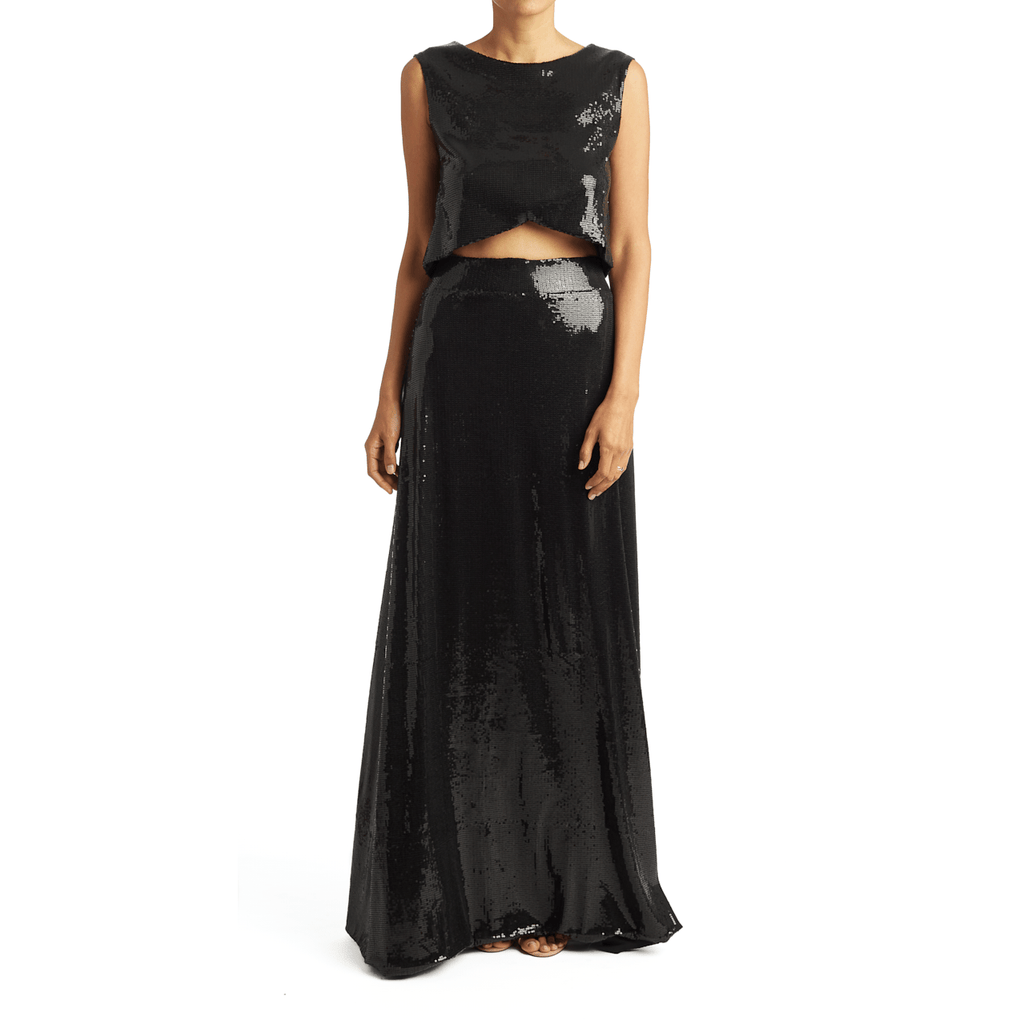 Black Sequin Maxi Skirt