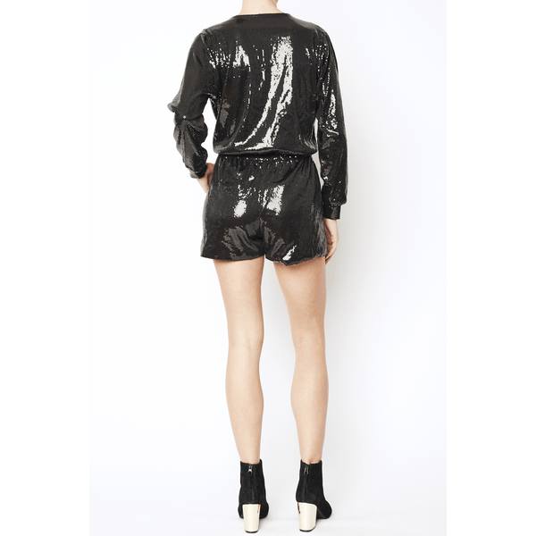 Black Sequin Long Sleeve Romper