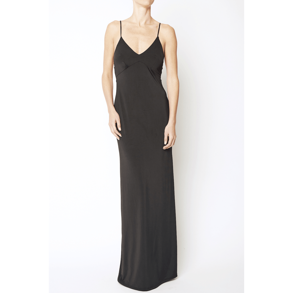 Black Spaghetti Strap Long Dress