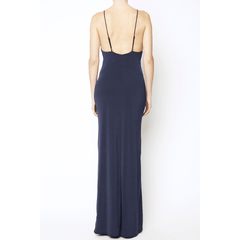Navy Spaghetti Strap Long Dress