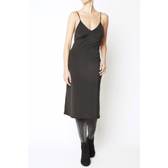 Black Spaghetti Strap Midi Dress