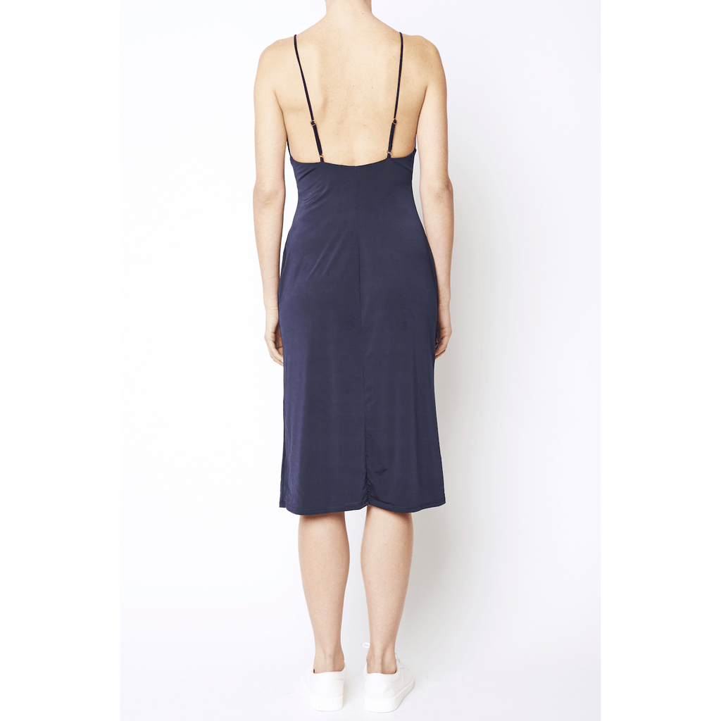 Navy Spaghetti Strap Midi Dress