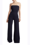 Navy Ponte Knit Strapless Wide Leg Catsuit