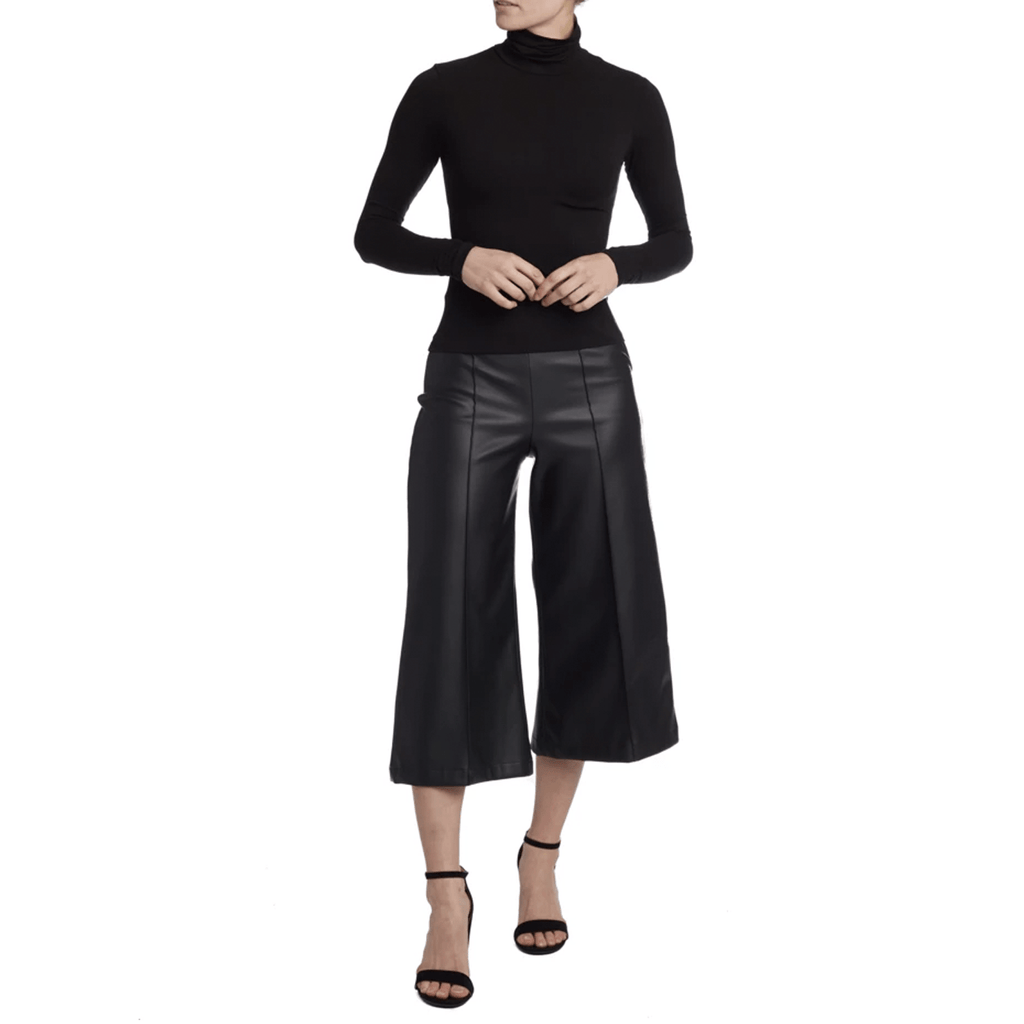 Vegan Leather Wide Leg Culottes - wide leg pants
