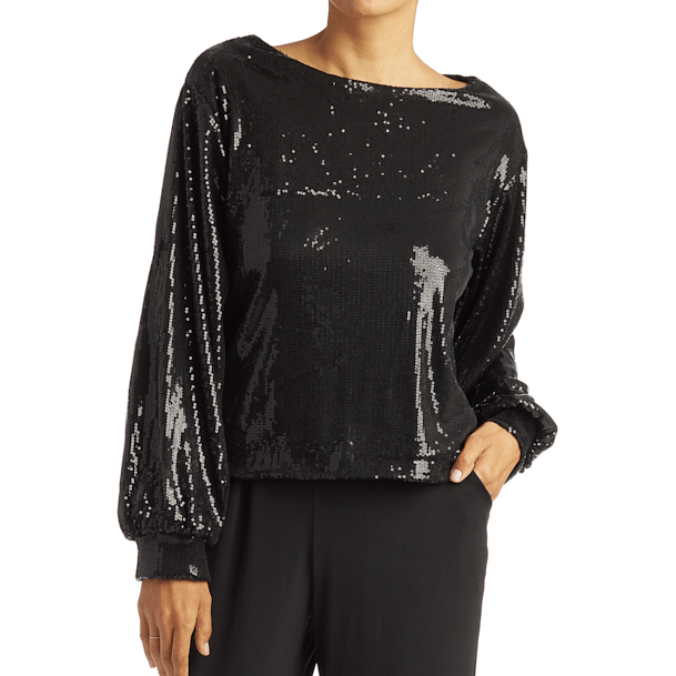 Black Sequin Lounge Top