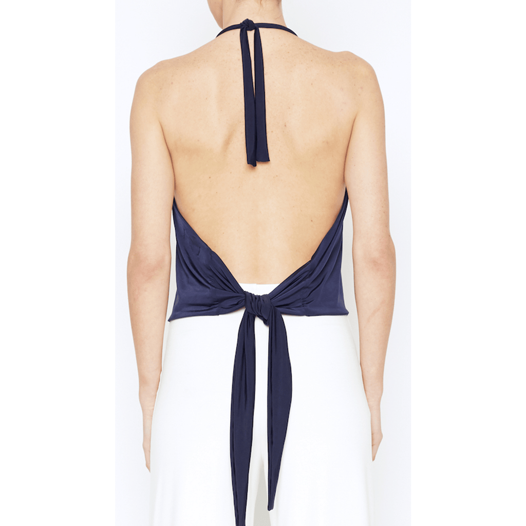 Navy Tie Back Halter Top