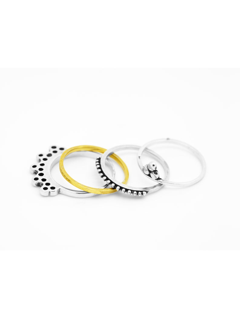 Silver Om, Gold Circle, Silver India and Silver Orb Stacking Collection may hofman jewellery