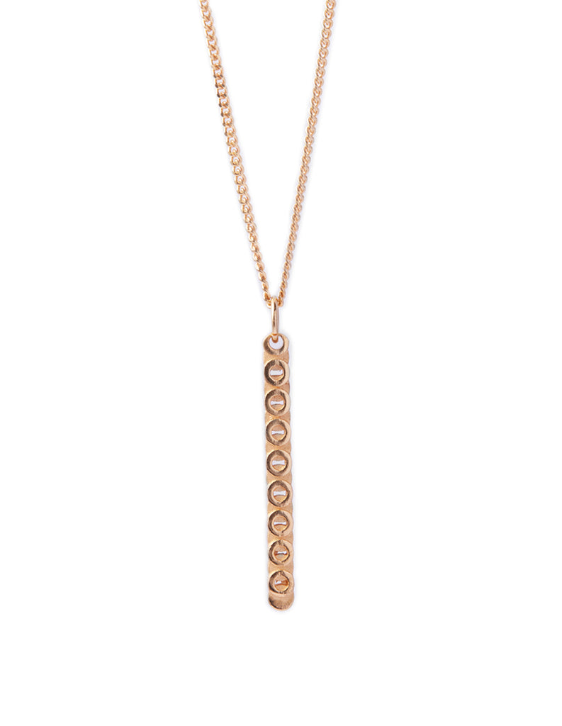 18ct gold plated silver circ line necklace by May Hofman Jewellery