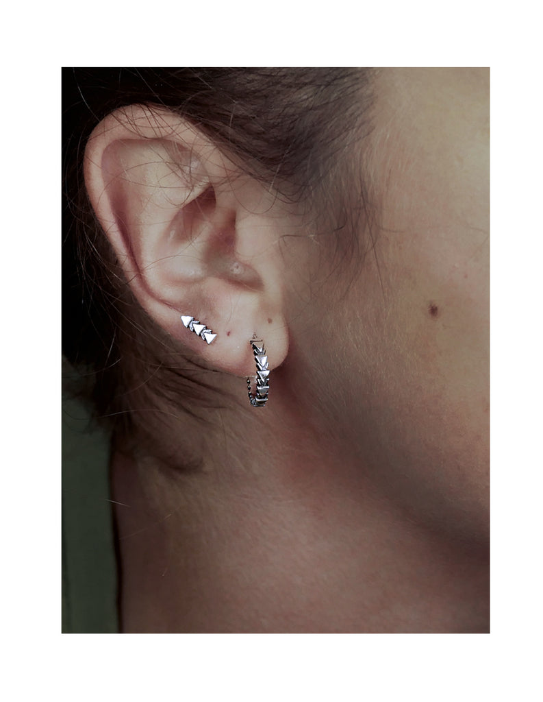 silver tri line studs by may hofman jewellery