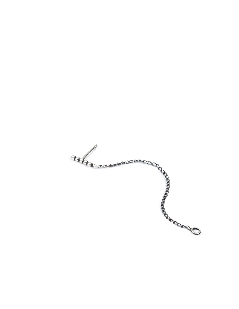 Silver Halo Stud with Linking chain by may hofman jewellery